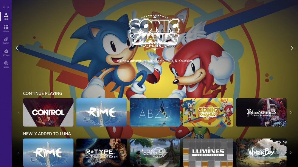 A view of the Luna home screen