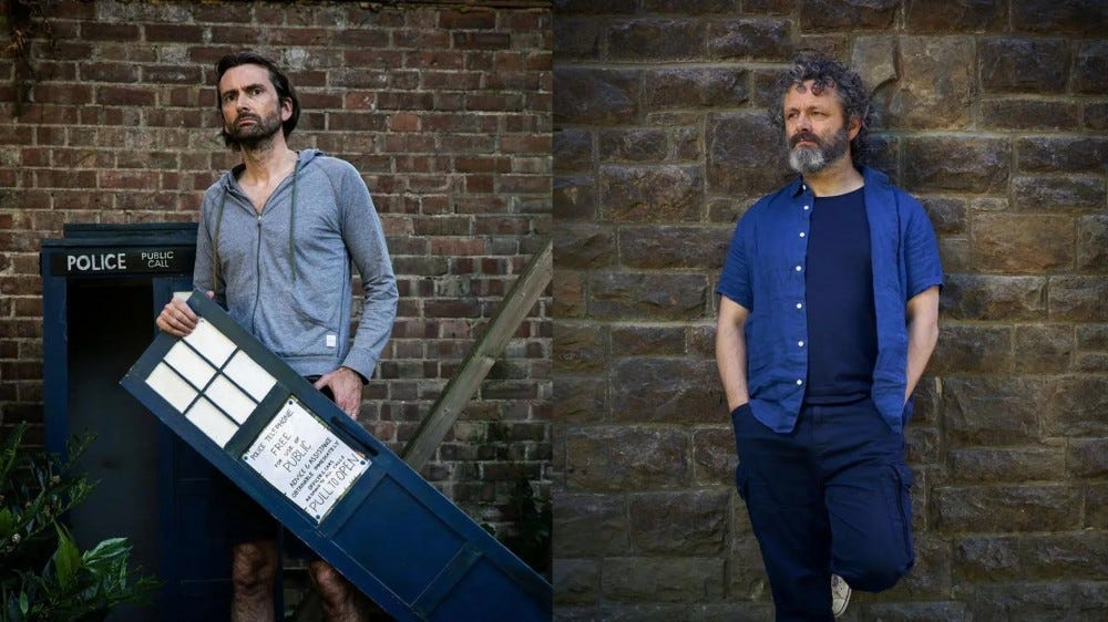 David Tennant and Michael Sheen in separate yards.