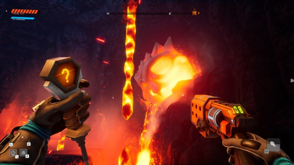A large cavern with pools of lava from Journey to the Savage Planet