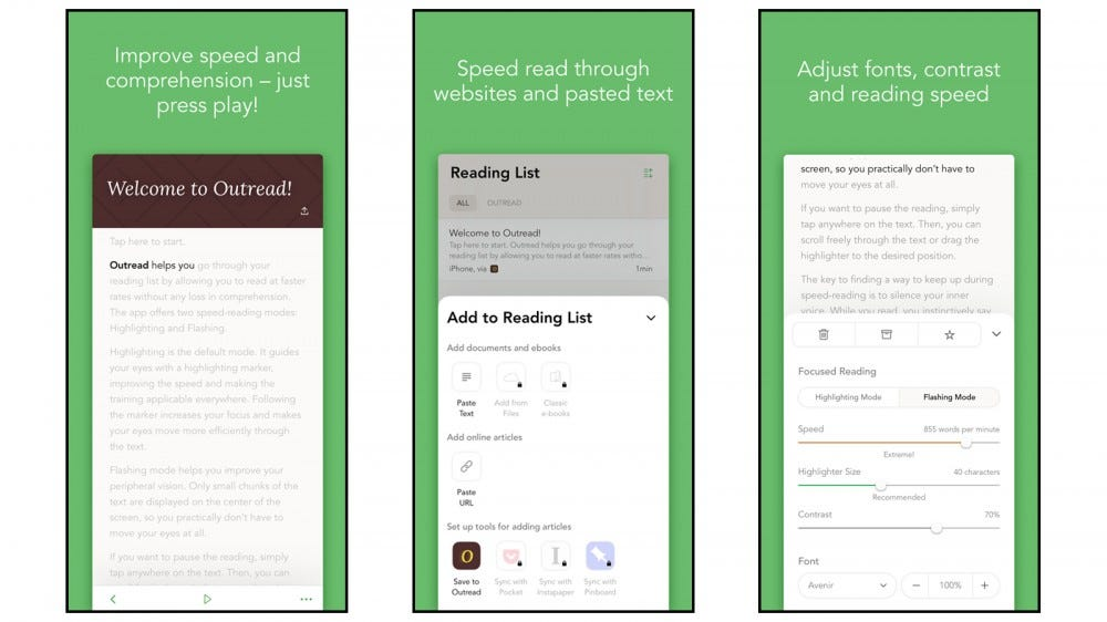 Outread best speed reading app for ios apple iphone ipad mac