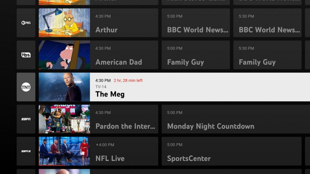 "A screenshot from YouTube TV showing ""The Meg"" but no other info"