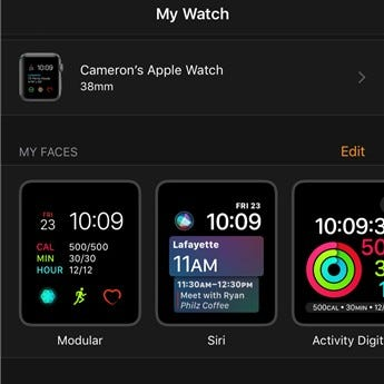 Apple Watch face settings