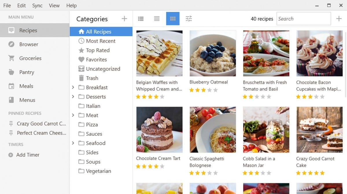 The Paprika Windows app showing several breakfast recipes.