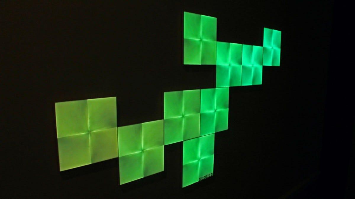 9 Nanoleaf panels showing sea green colors.