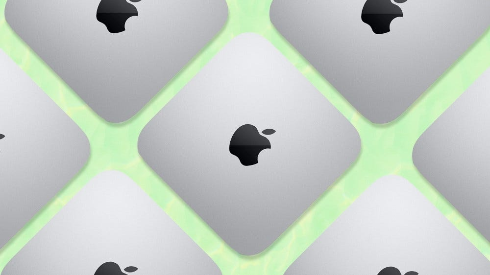 A collage of the M1 Mac Mini on a green background.