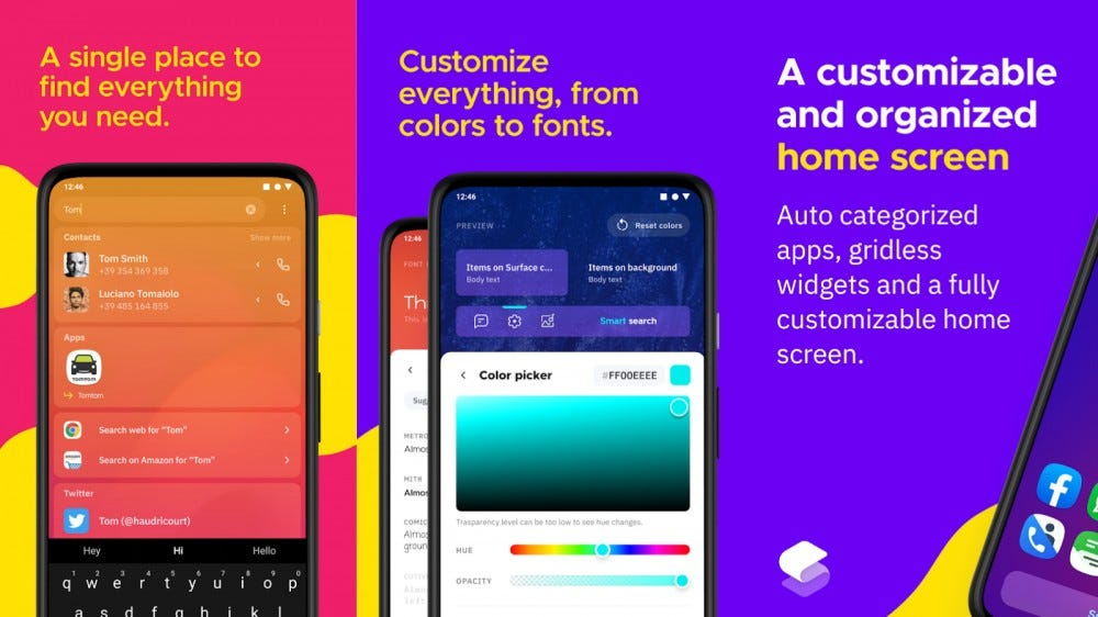 Screenshots of Smart Launcher 5