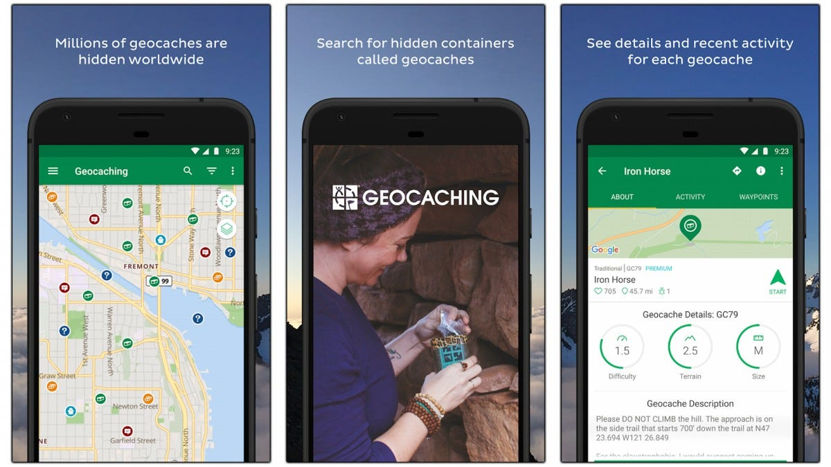 Screenshots of the Geocaching app and map.