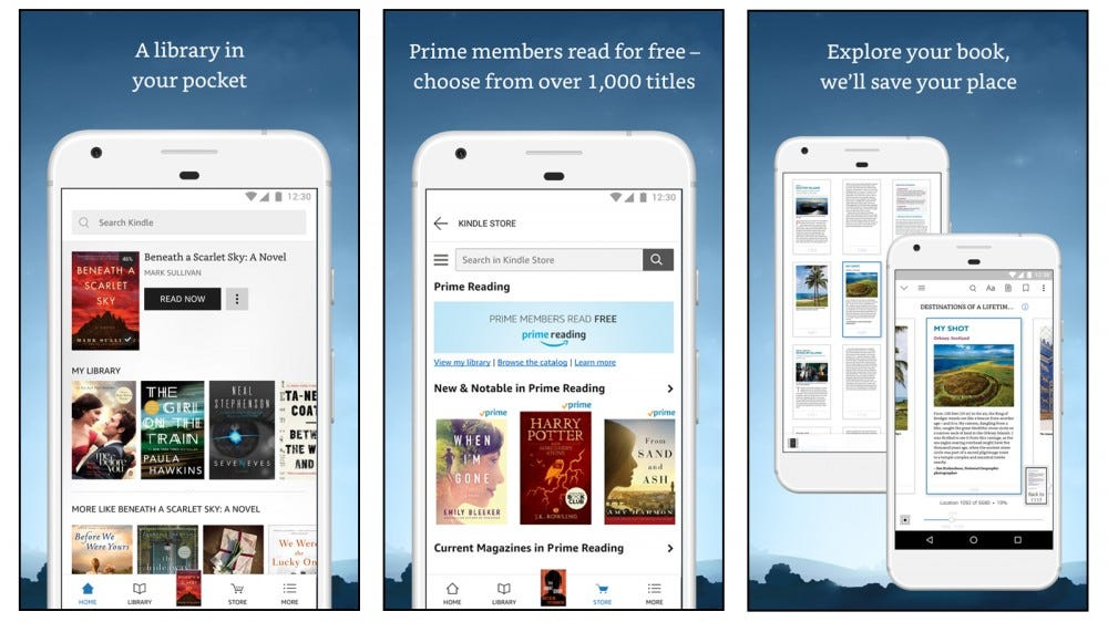 Amazon Kindle Android app showing magazine selections and customization options