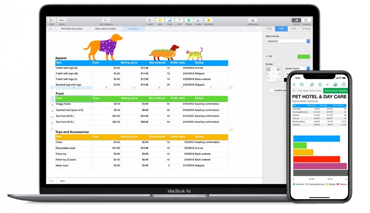 Apple iWork Numbers website