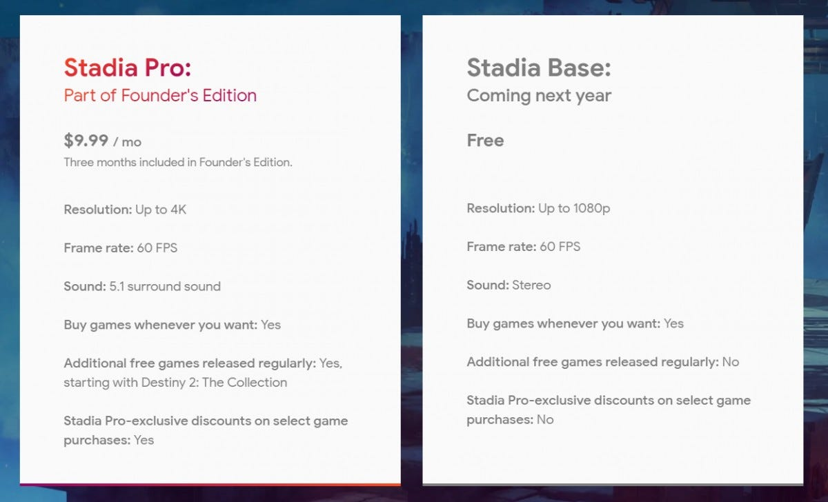 Stadia's free tier will be available in 2020, widely playable with no extra hardware to buy.
