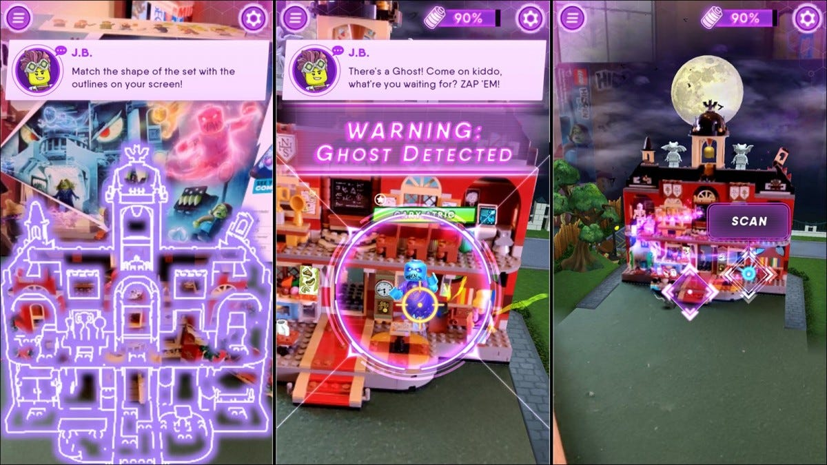 A series of screenshots showing the AR game