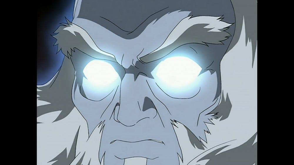 Avatar Roku with blue glowing eyes.