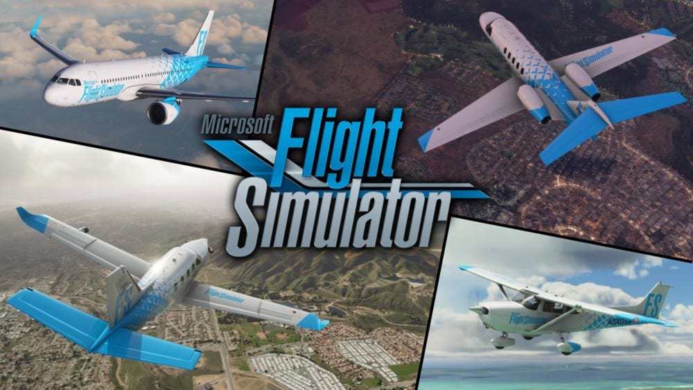 "The ""Flight Simulator"" logo overtop several planes."