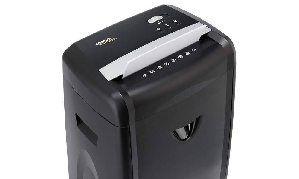 The AmazonBasics 12-Sheet High-Security Micro-Cut Paper Shredder.