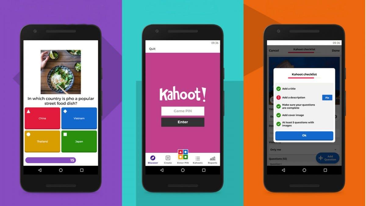 Several screenshots of the Kahoot app