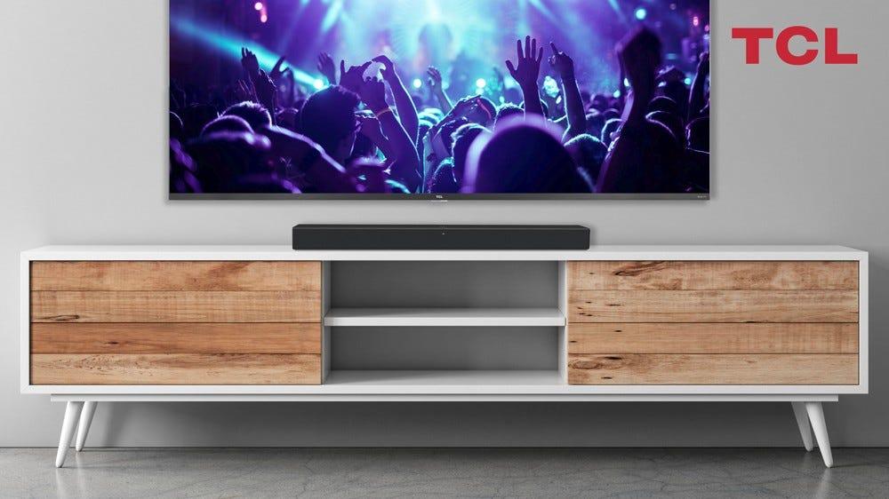 A photo of the TCL Alto R1 smart soundbar and a 6-series TCL Roku TV.