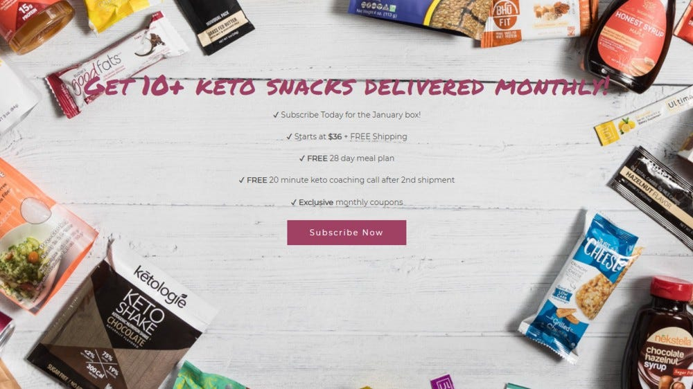 The Keto Box homepage with a wide array of snacks, meal items, and drinks