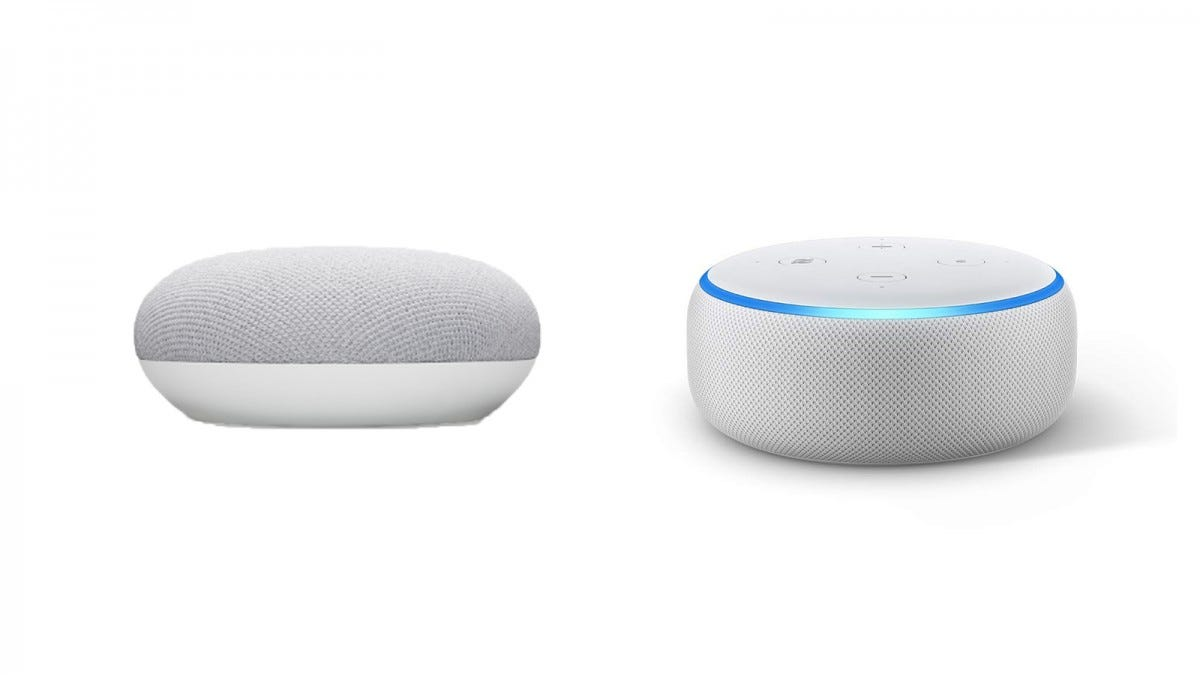Nest Mini and Echo Dot