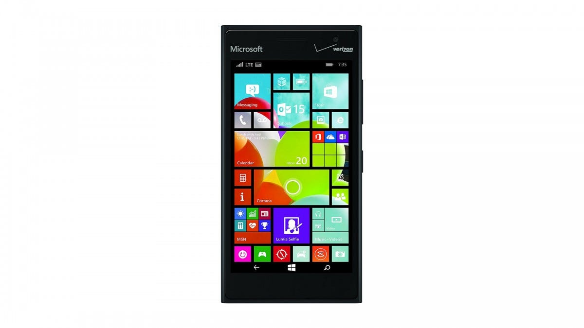 The Nokia Lumia 735 Windows cell phone.