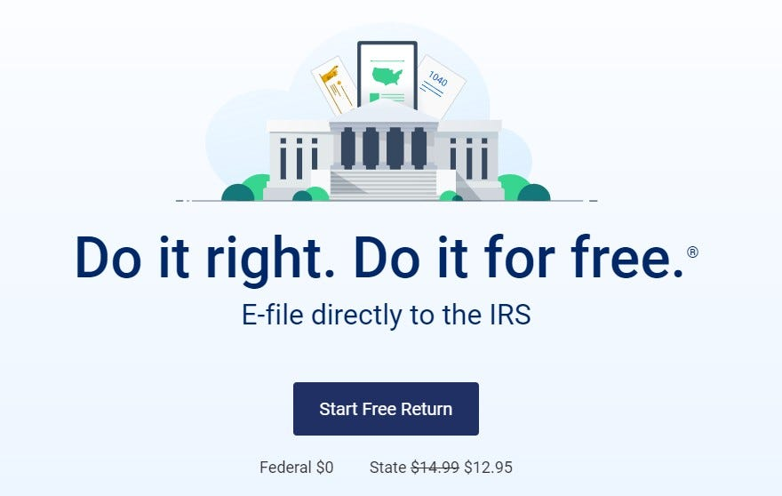 A screenshot from the FreeTaxUSA site showing federal and state pricing