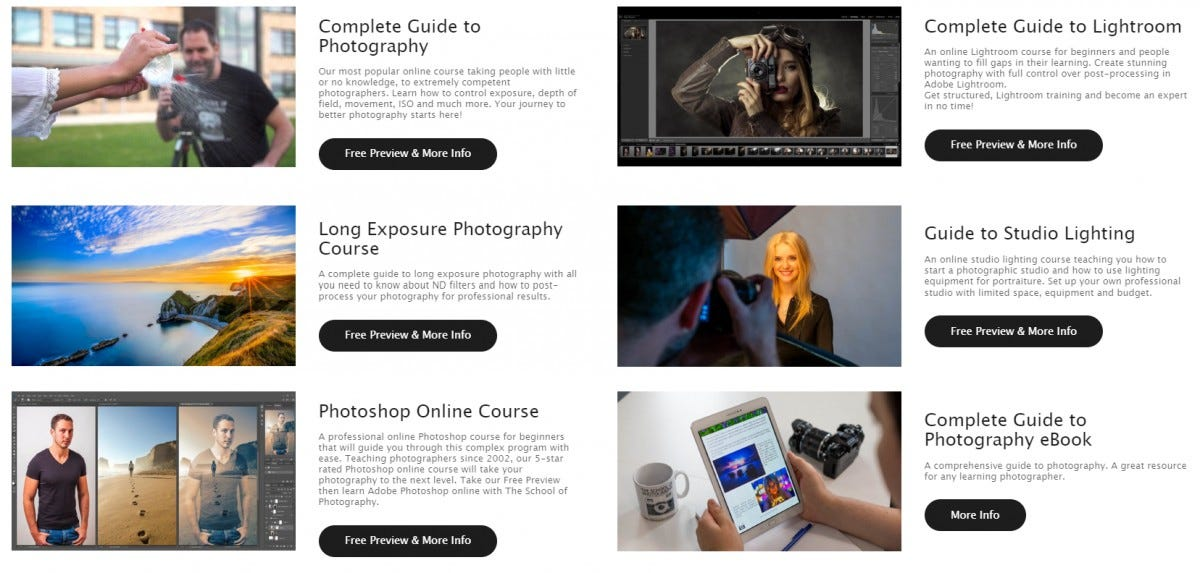 The School of Photography courses