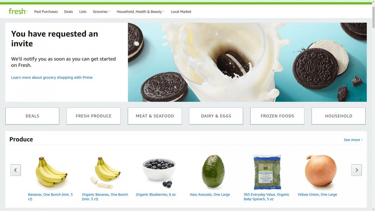 Amazon Fresh site, invite requested
