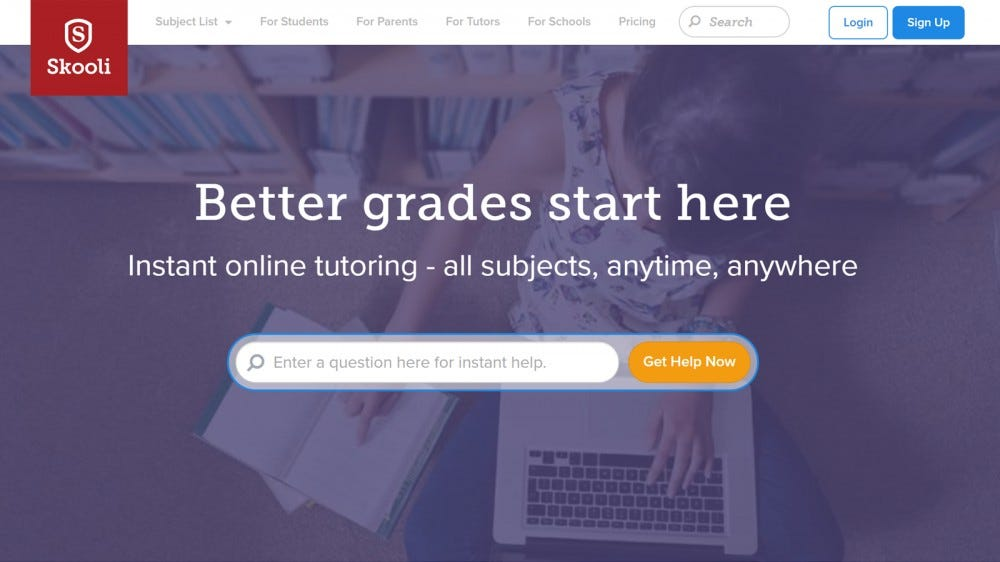 Skooli home page with better grades guarantee and tutoring options