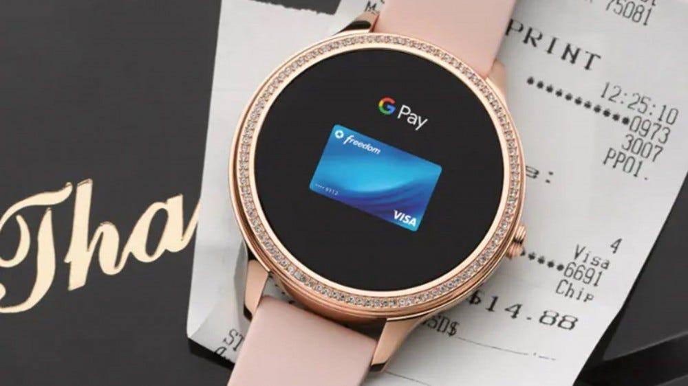 A rose gold Fossil Gen 5e smartwatch.