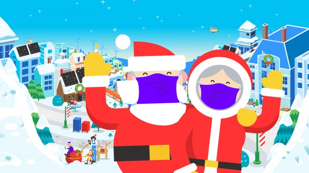Santa and Mrs. Clause in a village with masks.