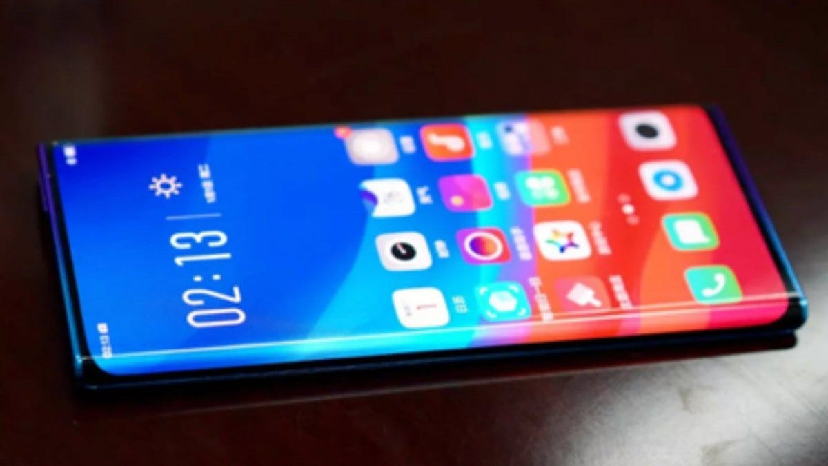 """An Oppo phone featuring a """"waterfall"""" curved display."""