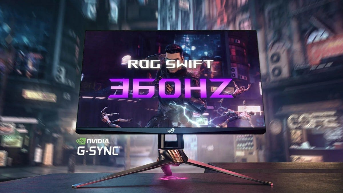 Asus ROG Swift 360Hz gaming monitor from the front