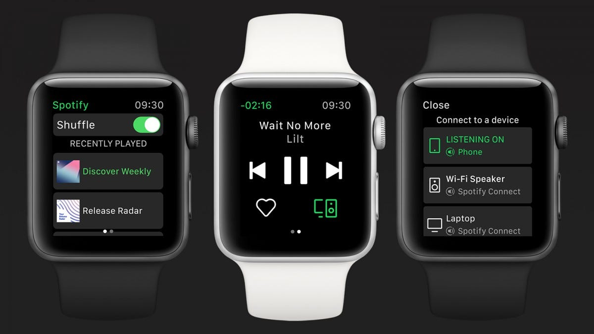 Three Apple Watches with the Spotify app open.