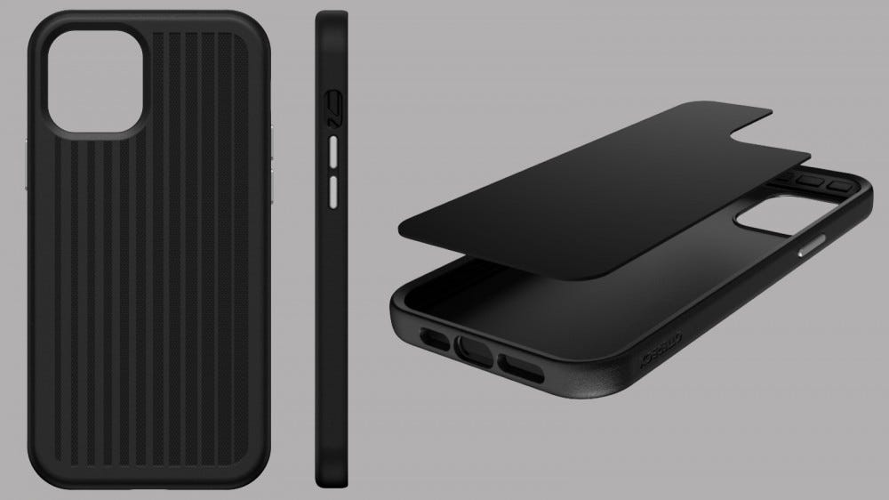 OtterBox Easy Grip Gaming Case from the front, side, and exploded