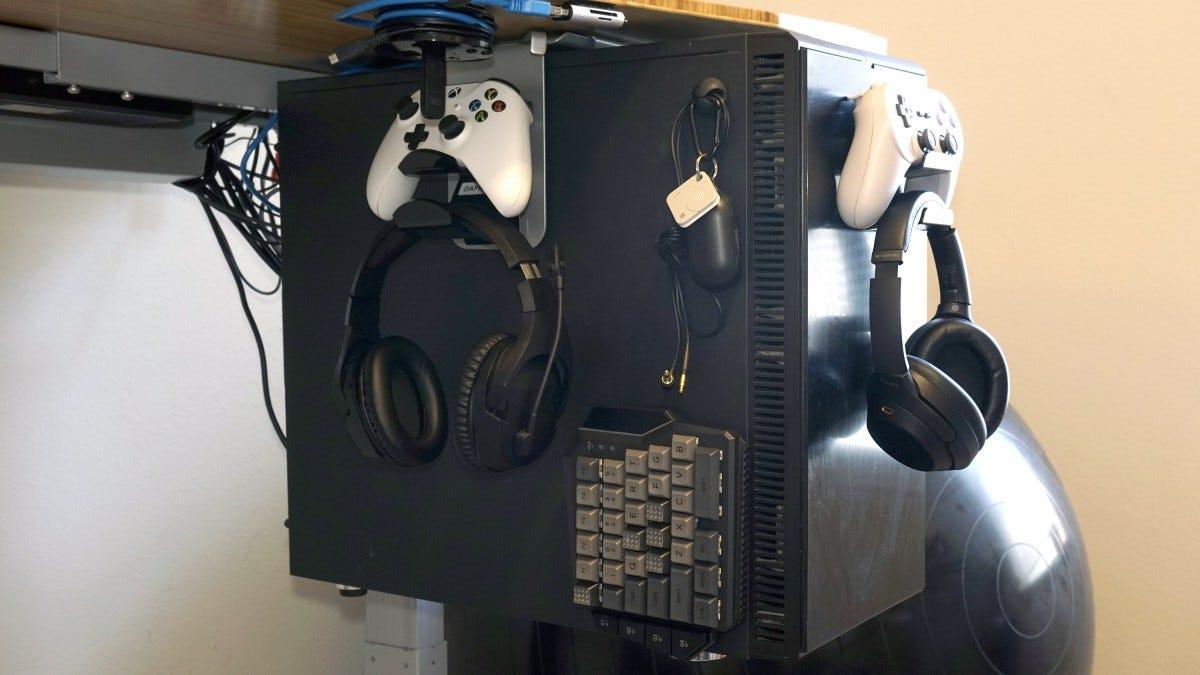 Computer case under desk.