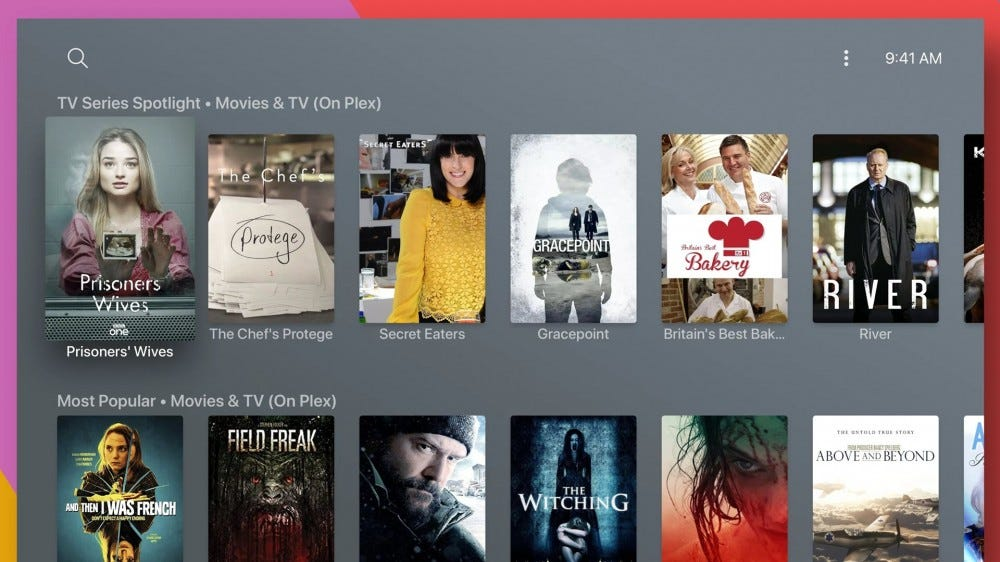 A range of Plex movies and TV shows on an Apple TV interface.