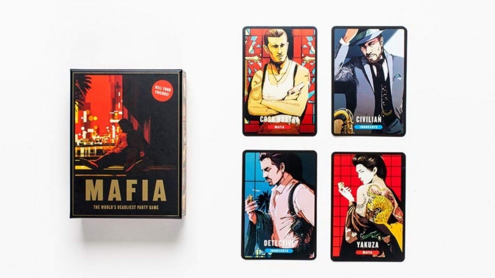 Mafia: The World's Deadliest Board Game box and cards