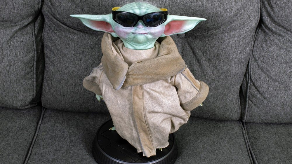 Baby Yoda wears sunglasses