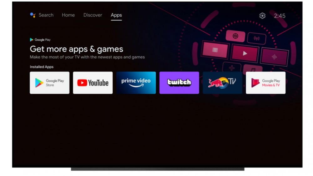 Android TV refreshed interface, apps tab
