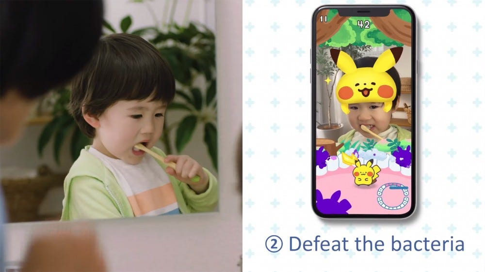 A young child brushing their teeth and then a screenshot of Pokemon Smile showing what they see