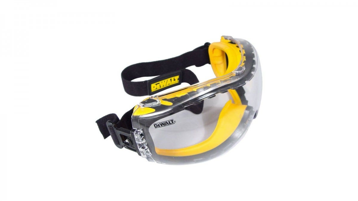 Yellow DEWALT Antifog Safety Goggles with a black strap.