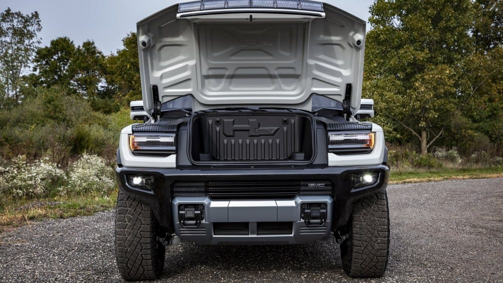 "The front hood of the Hummer, opened to reveal a ""frunk."""