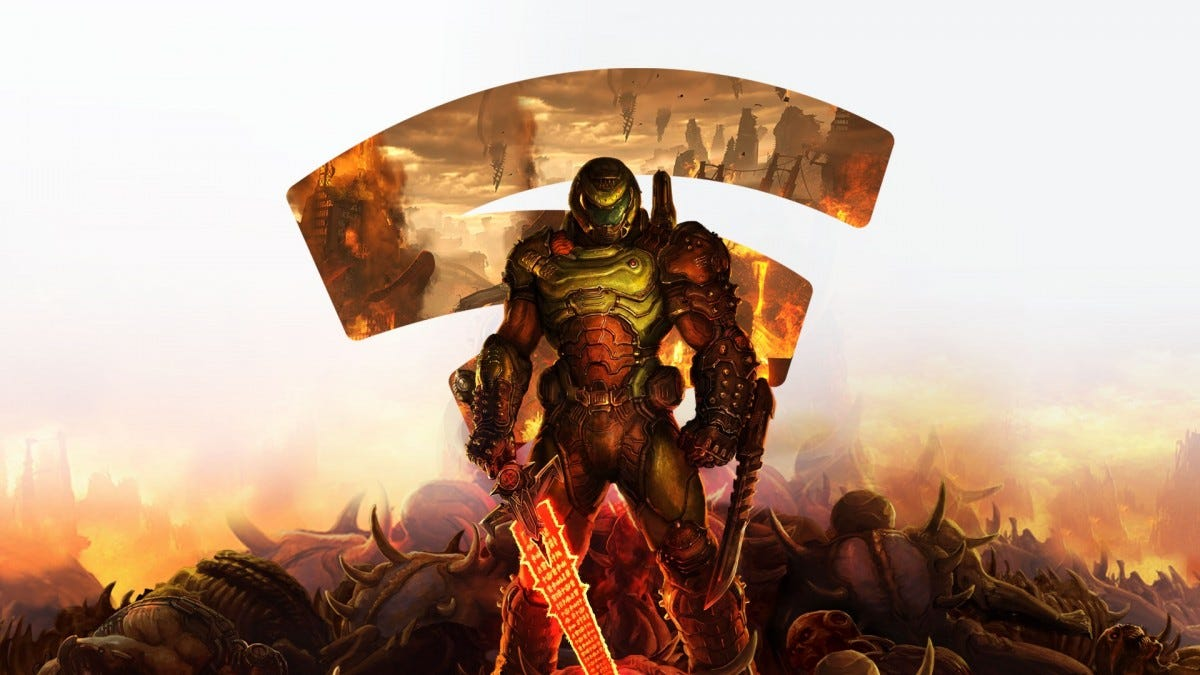 The DoomGuy standing in front of the Stadia logo and many fallen creatures.