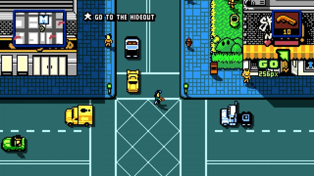 A 8-bit style game with a man holding a gun crossing the street.