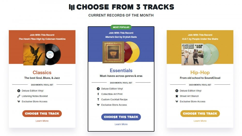 Vinyl Me, Please three subscription choices for Classics, Essentials, and Hip-Hop