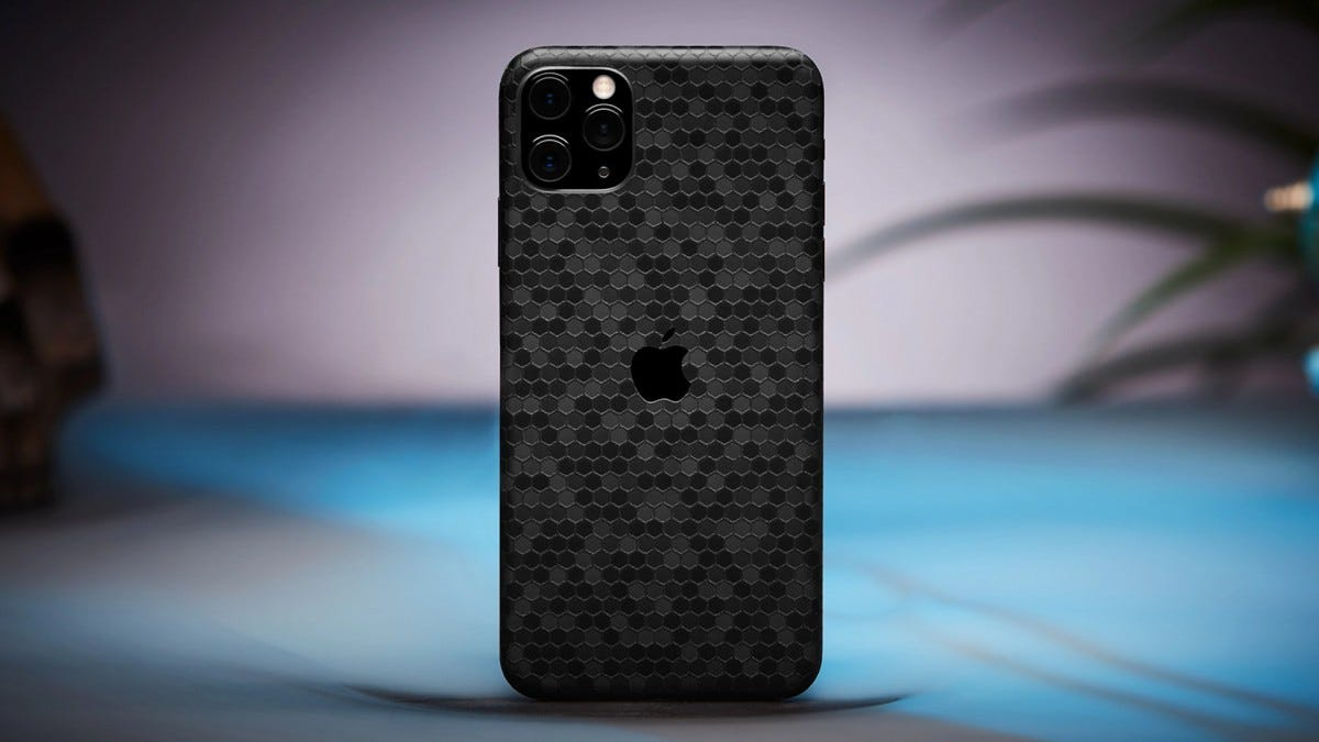 A dbrand case on an iPhone 11 Pro