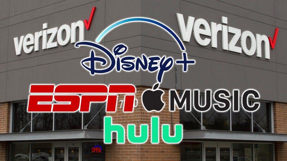 An illustration of the Verizon, Disney +, ESPN, Hulu, and Apple Music logos.