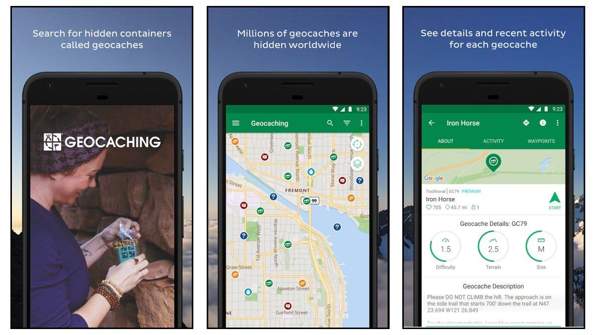 Geocaching app screenshots