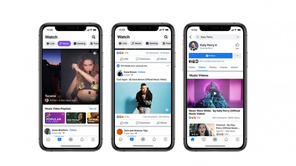 Three iPhones showing music videos inside the Facebook app.