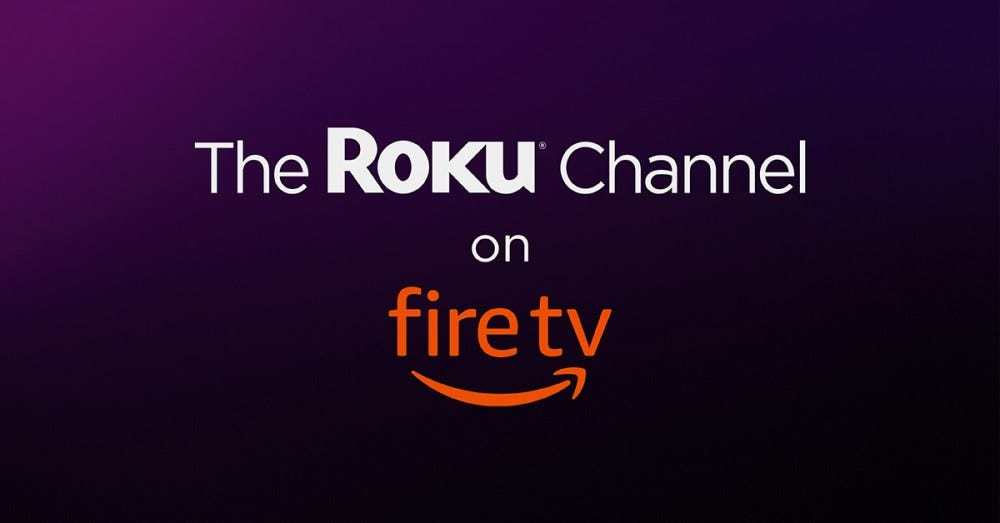 """The Roku Channel on Fire TV"" on a purple and black background"