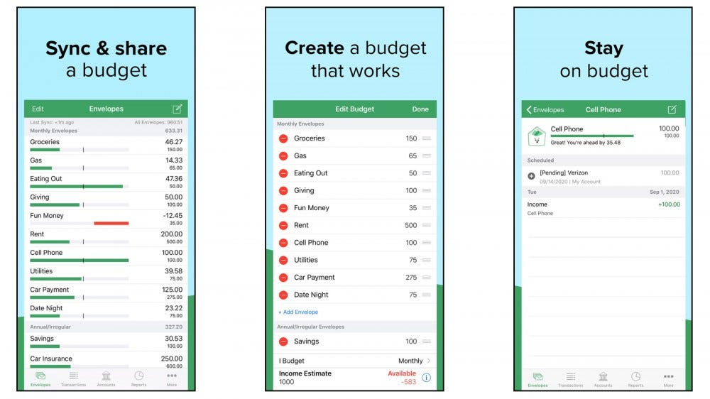 Goodbudget app for envelope budgeting